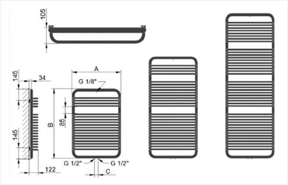 Полотенцесушитель BO размеры