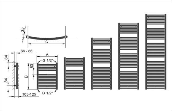 Полотенцесушитель BX размеры