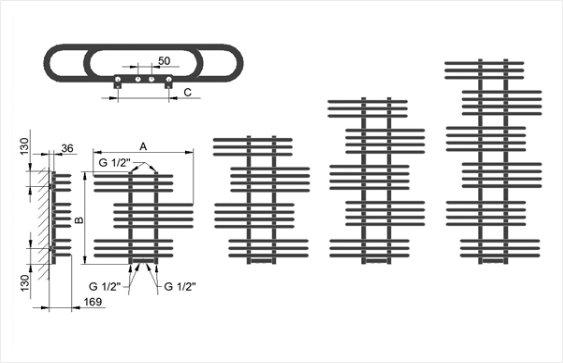 Полотенцесушитель LX размеры