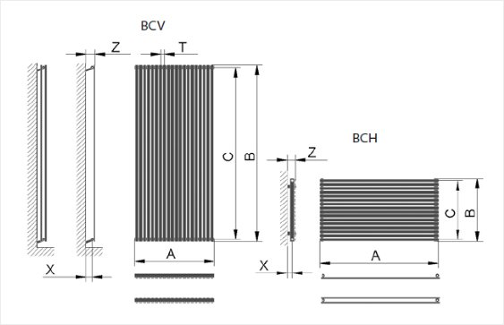 Дизайн радиатор Ellipse размеры