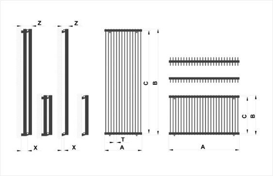 Дизайн радиатор Metrum размеры