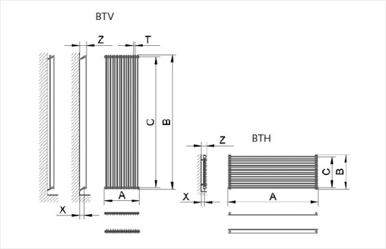 Дизайн радиатор Narrow размеры