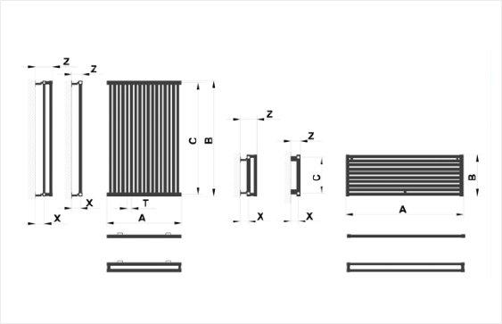 Дизайн радиатор PS type размеры