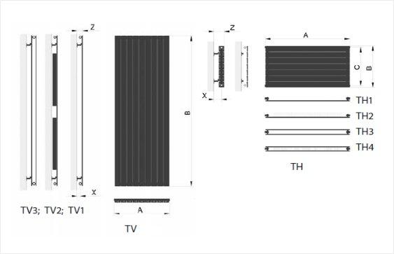 Дизайн радиатор Terra размеры