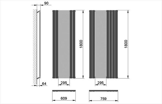 Дизайн радиатор MIRROR размеры