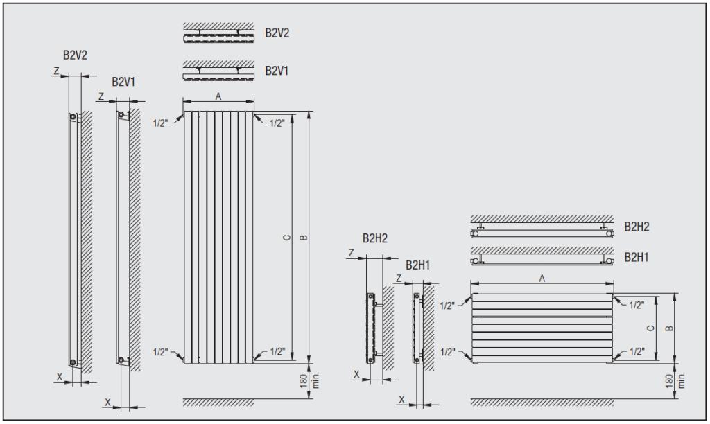 Горизонтальный радиатор Blende BV