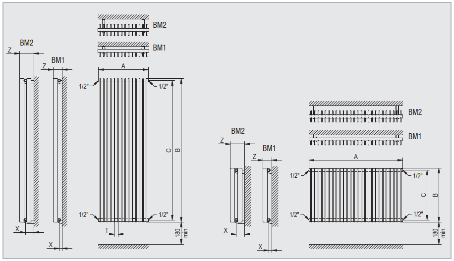 Горизонтальный радиатор Metrum BMV