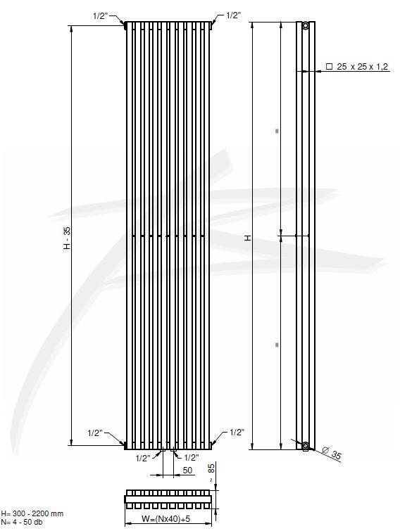 Вертикальный радиатор BQ Quantum 2 1800/405 /RAL 9005 Mat (Уценка- перекрашен )